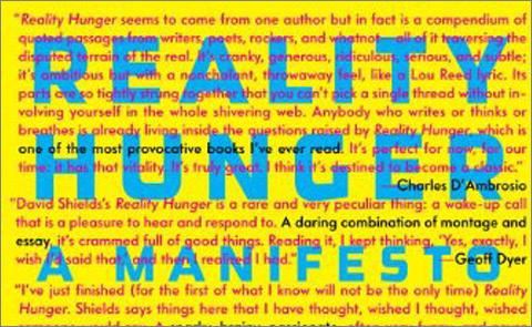 Detalj från omslag till Reality Hunger av David Shields. © Alfred A. Knopf