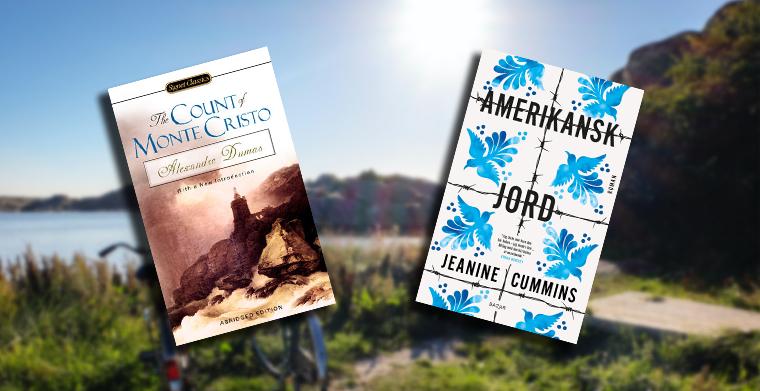 Omslag till Greven av Monte Cristo av Alexandra Dumas d.ä. och Amerikansk Jord av Jeanine Cummins, Bazar Förlag.