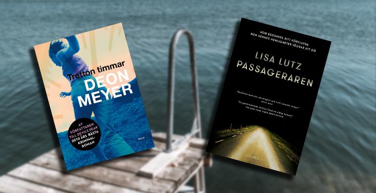 Omslag till Tretton timmar av Deon Meyer, Weyler förlag och Passageraren av Lisa Lutz, Lind & Co.