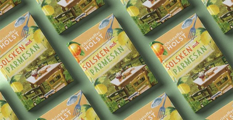 Omslag till Solsken och parmesan av Christoffer Holst.