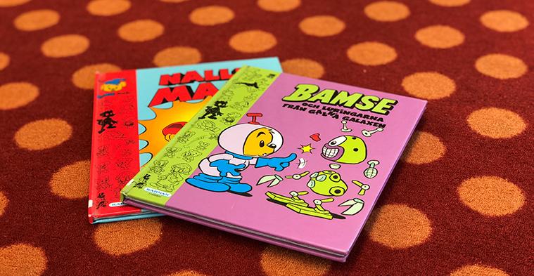 Omslag till två Bamseböcker