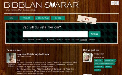 Så här ser Bibblan svarars webbplats ut.