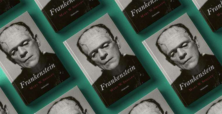 Omslag till Frankenstein av Mary Shelley. Modernista.