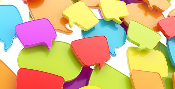 Pratbubblor i olika färger.
