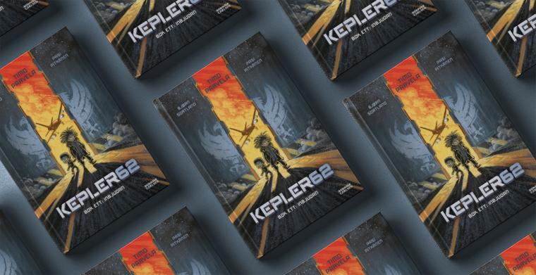 Omslag till Kepler 62: Inbjudan av Timo Parvela, Bjorn Sortland och Pasi Pitkänen. Bonnier Carlsen.