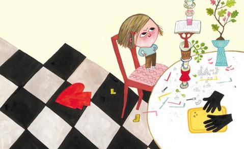 """Detalj ur omslaget till """"Leni är ett sockerhjärta"""". Rabén & Sjögren."""