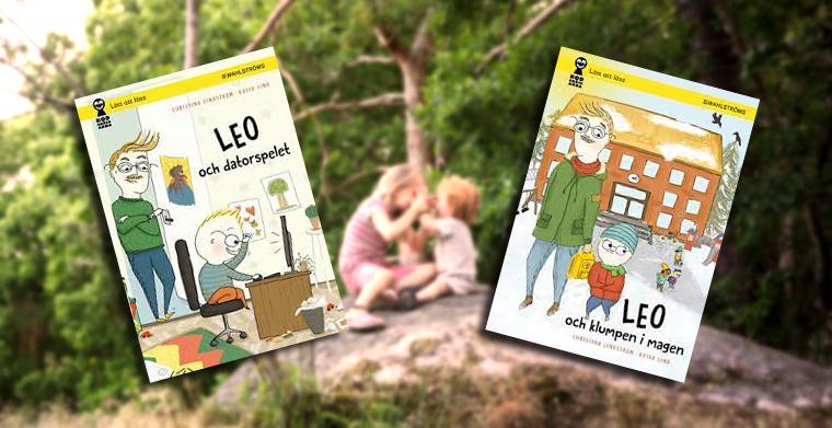Omslag till böckerna Leo och datorspelet samt Leo och klumpen i magen av Christina Lindström och Kajsa Lind. B. Wahlströms.