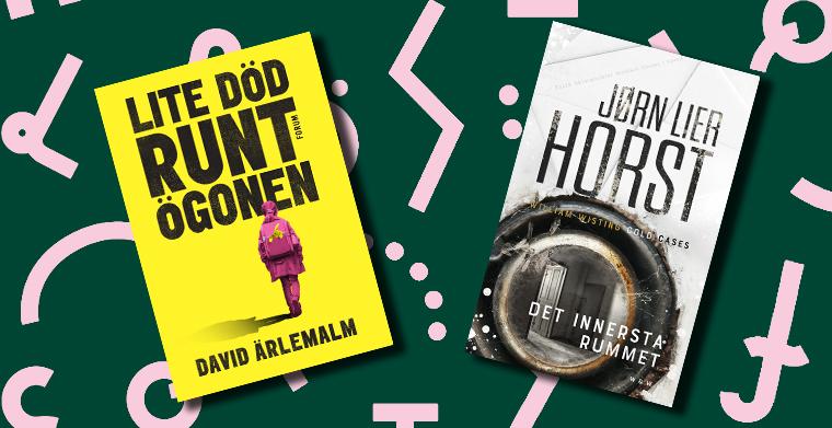 Omslag till Lite död runt ögonen av David Ärlemalm, Forum. Omslag till Det innersta rummet Cold cases #2 av Jørn Lier Horst, Wahlström & Widstrand förlag.