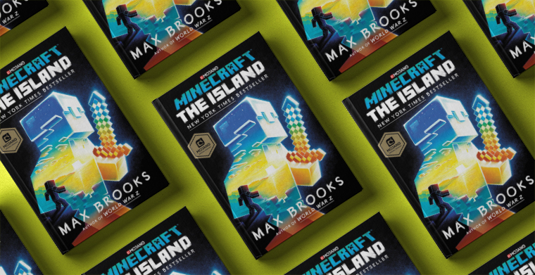 Omslag till Minecraft - The Island av Max Brooks. Del Rey.