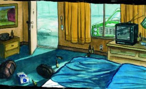 """Detalj ur omslaget till den engelska versionen av boken, """"Motel life"""". Faber & Faber."""