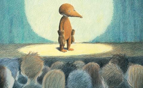 """Detalj ur omslaget till """"Ensam mullvad på scen"""". Bonnier Carlsen förlag."""