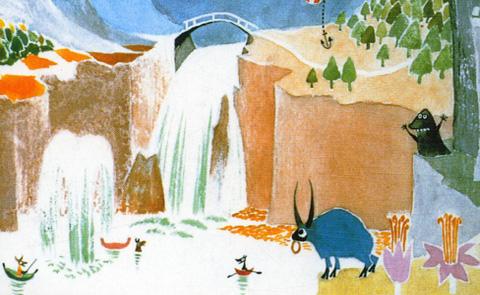 Detalj från omslaget till Muminpappans memoarer. Alfabeta förlag.