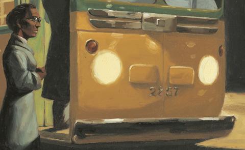 """Detalj ur omslaget till """"Rosas buss"""". Alvina förlag och produktion AB."""