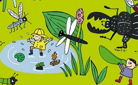 """Detalj ur omslaget till """"Små smarta upptäcker naturen"""". Rabén & Sjögren förlag."""