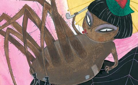 """Detalj ur omslaget till """"Spinderella Tarantella"""". Alvina förlag."""