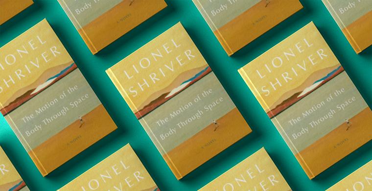Omslag till The motion of body through space av Lionel Shriver. Harper.