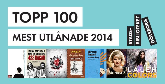 topp 100 mest utlånade på Stadsbiblioteket Göteborg