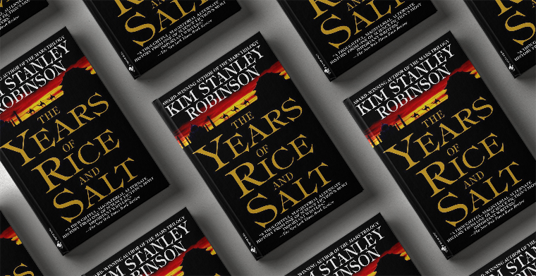 Omslag till The Years of Rice and Salt av Kim Stanley Robinson. Bantam Books.